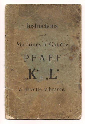 Instructions pour lemploi des machines à coudre Pfaff H et J à navette centrale. 1912. Broché. 24 pages. Défraîchi. 9,5x22,5cm. (Machines à coudre)