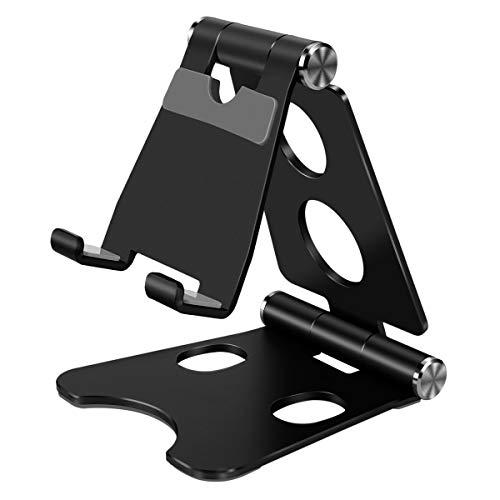 OneBear Handy Ständer Tisch, Mini Handy Halterung Faltbar, Smartphone Ständer Schreibtisch, Verstellbar Tablet Stand, Tragbar Foldable Desktop Halter for Smartphone und Tablet mit 4~8 Zoll (Black)