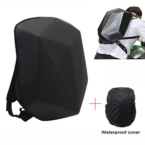 JFG RACING Motorcycle Backpack Hard Shell Backpack - Diamond Shape Riding Backpack Motorcycle Waterproof 30L Large Capacity - Perfect For Riding Travelling Camping Cycling Storage Bag
