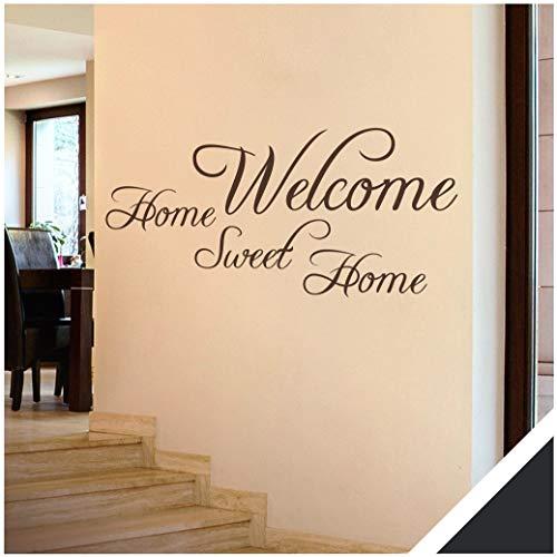 Exklusivpro Wandtattoo Spruch Wand-Worte Welcome Home Sweet Home inkl. Rakel (wrt03 schwarz) 140 x 62 cm mit Farb- u. Größenauswahl