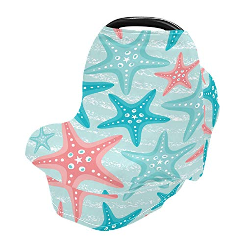 Nautical Ocean Starfish Baby Car Seat Covers, Nursing Cover Breastfeeding Scarf Soft Breathable Stretchy Coverage, Infant Stroller Cover for Boys Girls