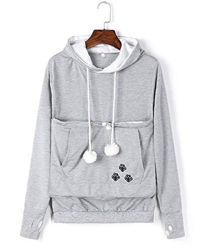 Unisex Women Pet Cat Dog Holder Carrier Hoodie Long Sleeve Big Pouch Kangaroo Sweatshirt (Grey, 3XL)