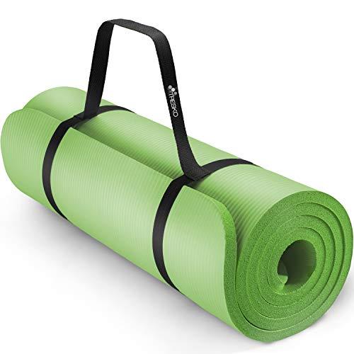 TRESKO® Esterilla de Fitness 185 x 60 cm y 190 x 100 cm para Gimnasia, Yoga, Pilates y Cualquier Ti