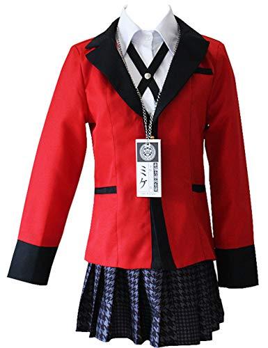 Ainiel Yumeko Jabami Cosplay Costume Girls School Uniform Full Set (Small) Red