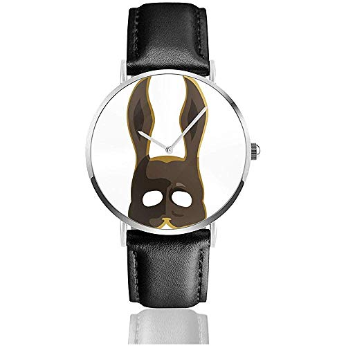Unisex Brown Splicer Bunny Mask Bioshock Uhren Quarz Lederuhr mit schwarzem Lederband
