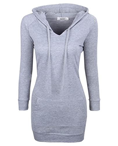 Bepei Womens Long Sleeve Tunic Sweatshirt String Hoodie With Pocket Gray M