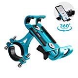 GuDoQi Porta Celular Universal para Moto, Soporte de Celular para Bicicleta y Moto, Aleación de Aluminio con Almohadilla de Silicona, 360° Ajustable, para Smartphones de 3,5 a 6,5 Pulgadas (Azul)