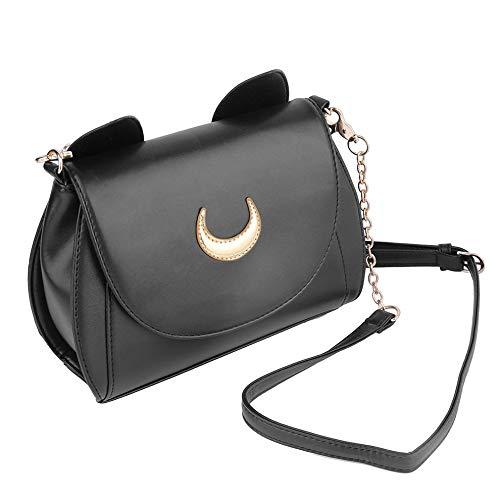 QiKun-Home Verschönert mit schönen Mond und Katzen Ohr Design Mode niedlichen Cosplay Sailor Moon PU Leder Frauen Handtasche Umhängetaschen schwarzen Mond