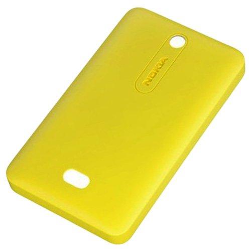 Nokia Asha 501e 501Dual SIM Copribatteria Originale Giallo Coperchio della batteria Back Cover Copribatteria batteria con patta