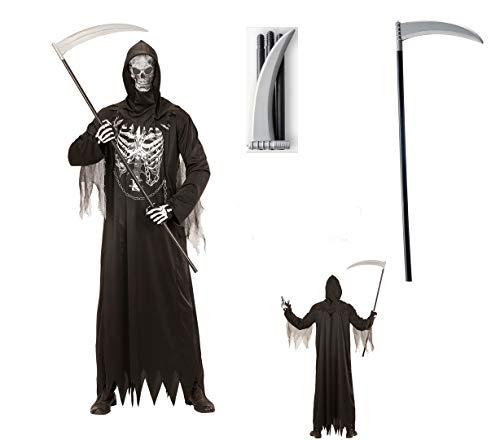 Herren Kostüm Sensenmann mit Kette + Maske Gr. XL mit Sense Halloween Verkleidung