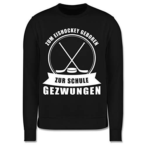 Sport Kind - Zum Eishockey geboren. Zur Schule gezwungen - 152 (12/13 Jahre) - Schwarz - Pullover Eishockey Kinder - JH030K - Kinder Pullover