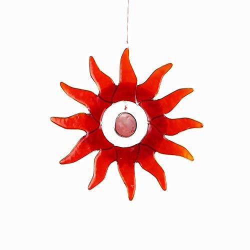 mitienda mit Liebe gemacht Fensterdeko Sonne rot, Dekosonne groß, Fensterschmuck bunt, Sonnenfänger, Deko Sonne