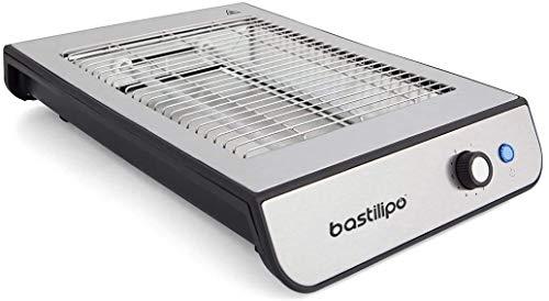 Bastilipo TPI-680 TPI-680-Tostador plano, 600W, 6 niveles de potencia, 2 resistencias, acero antihuellas, negro y aluminio