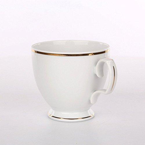 Tafelservice Eßservice Kombiservice Kaffeeservice Porzellan 12 Personen/6 Personen Service MariaPaula Chodziez (Tasse 220 ml, Weiß mit Goldstreifen)