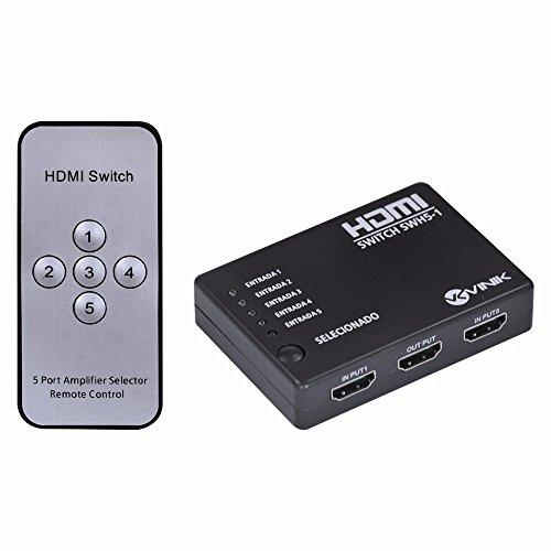 Switch HDMI 5 Entradas 1 Saída 1.3V com Suporte 3D e 1080P, Swh5-1, Vinik, 26500