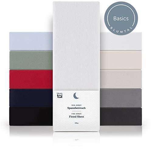 Blumtal Basics Spannbettlaken 90x 200 cm - 100% Baumwolle Bettlaken, bis 20cm Matratzenhöhe, Weiß