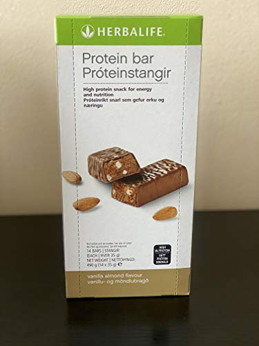 Herbalife Protein Bars, Almond and Vanilla, Pack of 14 Bars, Contributes to Growth and Maintenance of Muscle Mass