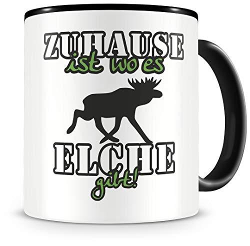 Samunshi® Elche Tasse mit Spruch Zuhause ist Elche Geschenk für Elche Fans Kaffeetasse groß Lustige Tassen zum Geburtstag schwarz 300ml