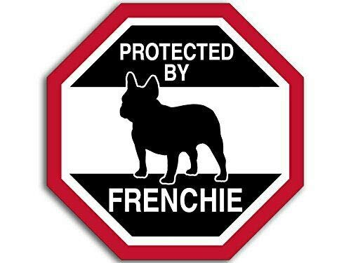 MAGNET 4x4 inch Octangular Protected by Frenchie Sticker (Funny Dog Breed Love) Magnetic vinyl bumper sticker sticks to any metal fridge, car, signs