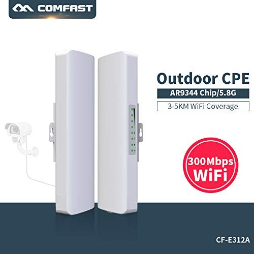 COMFAST WiFi Repetidor 300Mbps 5.8Ghz Punto de Acceso Inalámbrico CPE Exterior WiFi Puente de Red Transmisión para Larga Distancia del Punto de Acceso para Larga Distancia del Punto de Acceso