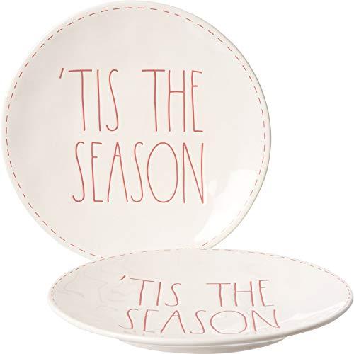 Rae Dunn Elongated Christmas Holiday Dinner Plates - Set of 2 (Tis the Season)