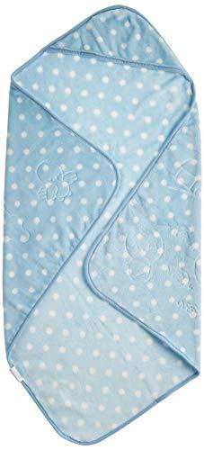 Cobertor Baby em Relevo Estampado com Capuz Poás Branco, Jolitex, 100% Poliéster, Azul, Infantil