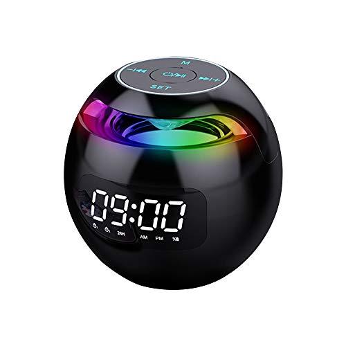Guijiyi Bluetooth Lautsprecher, Bluetooth 5.0, Digitaler Wecker mit FM Radio, 2 Weckzeiten und USB Ladefunktion, Tragbare Lautsprecher mit LED Display, Eingebautem Mikrofon, für Partys, Im Freien