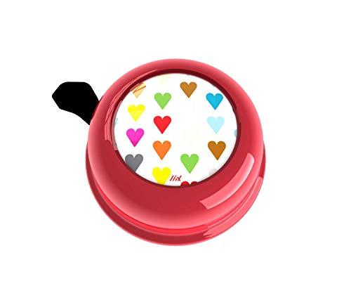Liix Colour Bell Polka Hearts rot Klingel mit Herzen Herzchen Valentinsklingel Liebe Kinder und Erwachsene