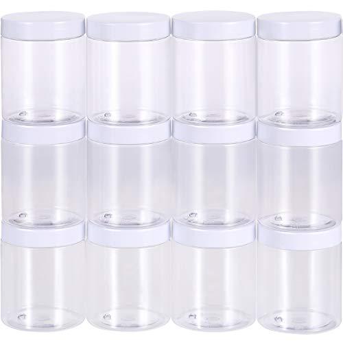 12 Pack Bote de Plástico Transparente Vacío Contenedor de Almacenamiento de Limo Envase de Boca Ancha con Tapas para Productos de Belleza, DIY Fabricación de Limo u Otros (Blanco, 10 oz)