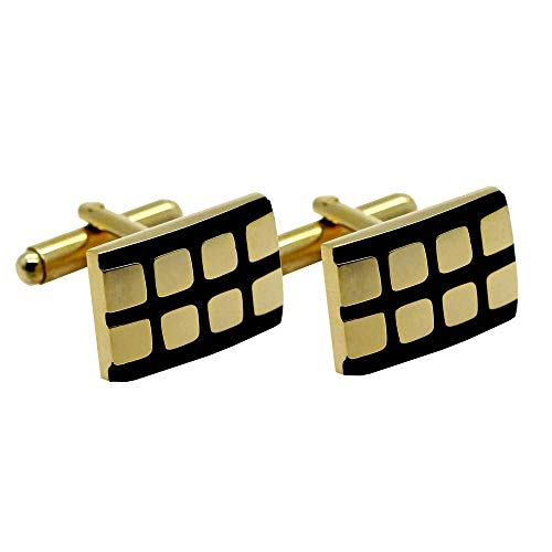 Tumundo 2 Boutons de Manchette Or Mat Brillant Etui Box de Cadeau Cravate Chemise Mariage Bureau Accessoire Hommes, modèle:mod 5