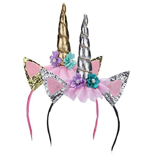 Très Chic Mailanda Diadema de unicornio con cuerno para disfraz de unicornio para carnaval,...