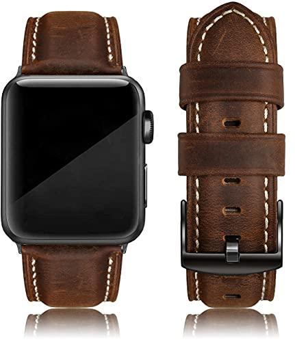 EDIMENS Echtes Lederband Kompatibel mit Apple Watch 42mm 44mm 45mm Armband, Vintage Echtes Leder Ersatzarmband für Apple iWatch Series 7 6 5 4 3 2 1 SE Sport Edition Damen Herren Retro Braun