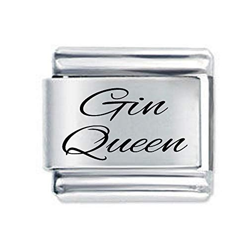 Gin Queen Etched Italian Charm - fits all 9mm Italian Style Charm Bracelets Charms and Bracelets