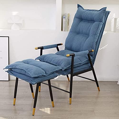 SACKDERTY Cadeira Cadeira para computador Cadeira confortável para escritório em casa, Couro Art Tamborete com encosto Alto Cadeira reclinável de estudo (Cor: Azul - com apoio para os pés)