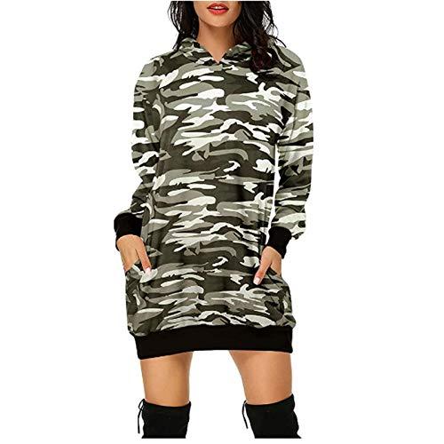 Vestido De Sudadera con Estampado De Leopardo De Camuflaje Mujer Suéter De Bolsillo con Capucha De Manga Larga Túnica