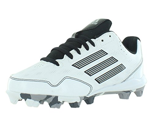 adidas Performance Wheel House 2 K Baseball/Softball Shoe (Little Kid/Big Kid), White/Black/Metallic/Silver, 6 M US Big Kid