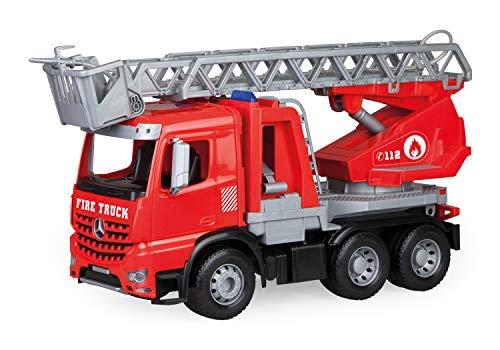 Lena 04615 - Worxx Feuerwehr Leiterwagen Mercedes Benz Arocs, Feuerwehrauto ca. 48 cm, Feuerwehrwagen mit drehbarer & ausfahrbarer Leiter und Wasserspritze, Robustes Spielauto für Kinder ab 3 Jahren