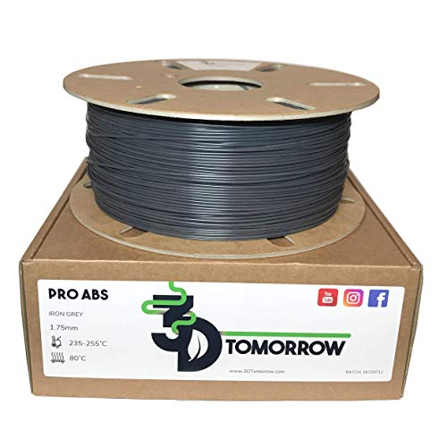 3DTomorrow Iron Grey Pro ABS Filament 1.75mm, Engineering Grade Low Warp Blend, 100% Recyclable Cardboard Spool 3D Printer Filament