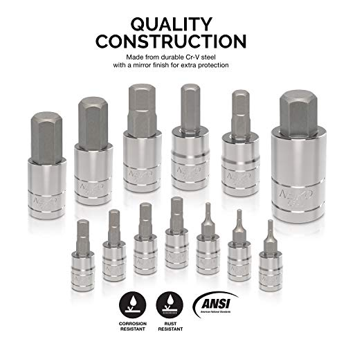 """Neiko 10074A Hex Bit Socket Set, Metric, 2mm to 14mm 