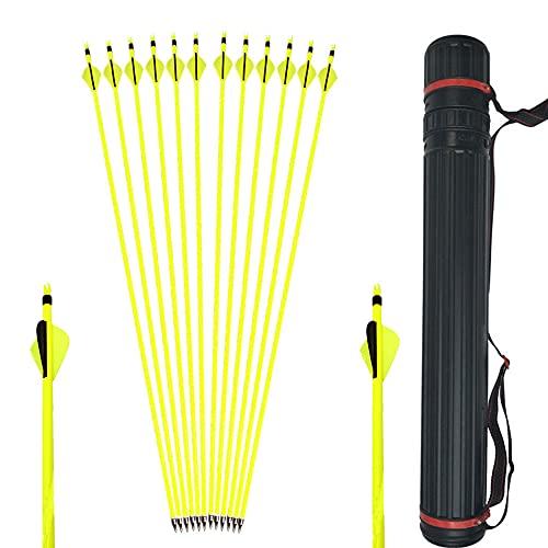 SHARROW 6/12 PCS Flechas de Carbono Tiro con Arco Flechas y saetas 31'' Spine 500 para Arco Compuesto Recurvo Flechas de Caza para Caza o práctica, con carcaj de Flecha (12 pcs+1 Quiver)