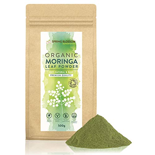 500G Moringa Superleaf Powder Oleifera 100% Organic Raw Premium Quality Non-GMO Healthy Vegan Superfood Food Supplement Rich in Protein, Amino Acids, Antioxidants, Dietary Fibre, Vitamins & Minerals