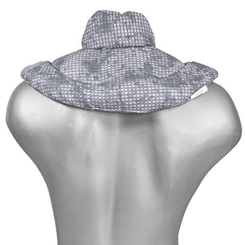 Cojín cervical de calor con cuello. Used look gris azulado. Almohada térmica con huesos de cerezas. Saco térmico de semillas para la nuca