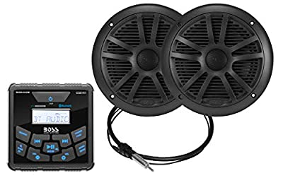 BOSS Audio Systems MCKGB450B.6 Weatherproof Marine Gauge Receiver and Speaker Package - IPX6 Receiver, 6.5 Inch Speakers, Bluetooth Audio, USB MP3, AM FM, NOAA Weather Band Tuner, No CD Player by BOSS AUDIO