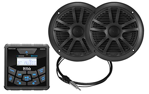 BOSS Audio Systems MCKGB450B.6 Weatherproof Marine Gauge Receiver and Speaker Package - IPX6 Receiver, 6.5 Inch Speakers, Bluetooth Audio, USB MP3, AM FM, NOAA Weather Band Tuner, No CD Player, Black