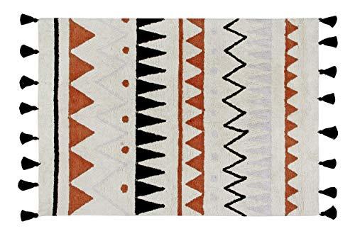 Lorena Canals Aztec waschbar Natur Teppich, Baumwolle, Terracotta, 120x 160x 30cm