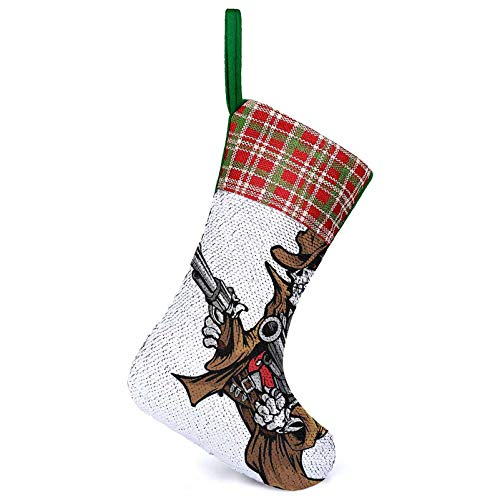 3D Socks Gift Bags Dead Skeleton Cowboy Shooting with Big Pistol Evil Old West Gang Illustration Brown Xmas Fireplace Hanging Decoration Gifts for Fireplace Xmas Tree Holiday Party 25.2 x 33.5 cm