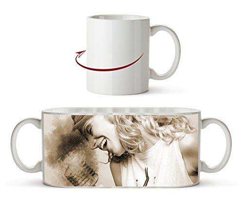Scantante en el efecto de micrófono brillante: Sepia como taza de 300 ml, de cerámica blanca, maravillosa como idea de regalo o su nueva taza favorita.