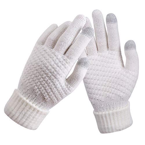 DYNWAVE Luvas de Inverno Masculino Feminino com Tela de Toque - Branco