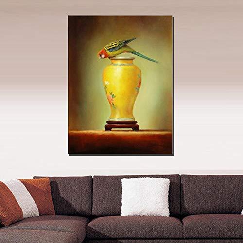 WunM Studio olieverfschilderijen op canvas met de hand geschilderd, abstracte dierlijke schilderijen, leuke grappige kleurrijke vogel en vaas, grote moderne muur Art Decor voor thuis woonkamer slaapkamer Office Hotel 110 x 165 cm