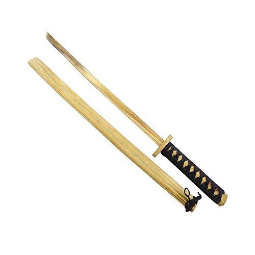 In legno Dimensioni spada in cm (compreso manico) : 63 x 9 x 3,3 Manico antiscivolo Con fodero